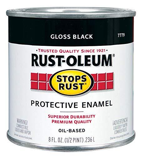 Rust-Oleum 7779730 Protective Enamel 1/2 Pint High Gloss Oil Base Paint, Black