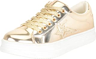 Cambridge Select Women's Low Top Round Toe Star Lace-Up Chunky Platform Fashion Sneaker