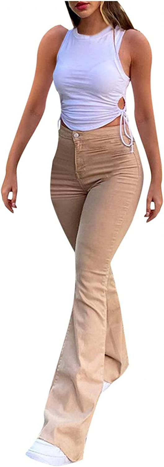 Fudule Y2K Fashion Jeans for Women, Teen Girls Vintage Brown Pants Slim Fit Flared Trousers Casual Straight Leg Pants