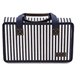PortableAnd Outdoor & Picnic Blanket Extra Large Sand Proof and Waterproof Portable Beach Mat for Camping Hiking Festivals 67'x55', Blue and White Striped