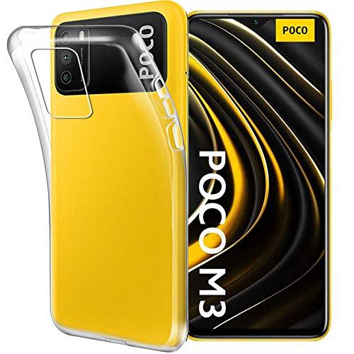 """HYMY Cover per Xiaomi Poco M3 (6.53"""") Morbida Trasparente Silicone Bumper Case TPU Protettivo Copertura Custodia"""