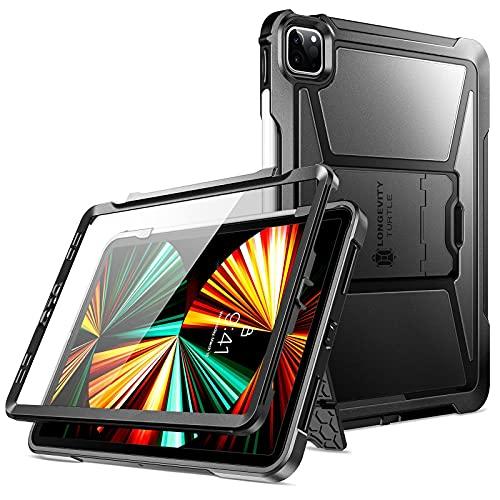 ZtotopCase Cover per iPad Pro 12.9 2021, Custodia Robusta con Portamatite + Protezione per lo Schermo Integrato Progettata per iPad Pro 12.9 Pollici 5a Generazione, Nero