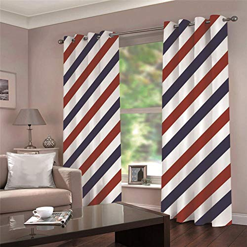ARTEZXX Blackout Curtains 3D Red And Blue Stripes Waterproof Mildew Resistant Polyester Fabric Curtains Thermal Insulated Window Curtains For Living Room Office Bedroom (2 Panel) 2 x 55.11' x 98.42'