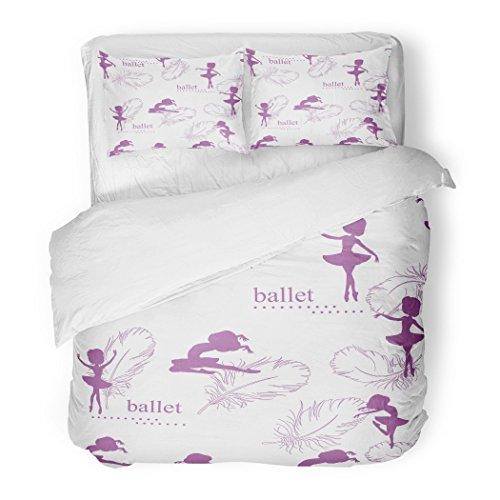 SanChic Duvet Cover Set Girl Pattern Silhouette Ballerinas Feather Swan Retro Adorable Airy Decorative Bedding Set Pillow Sham Twin Size