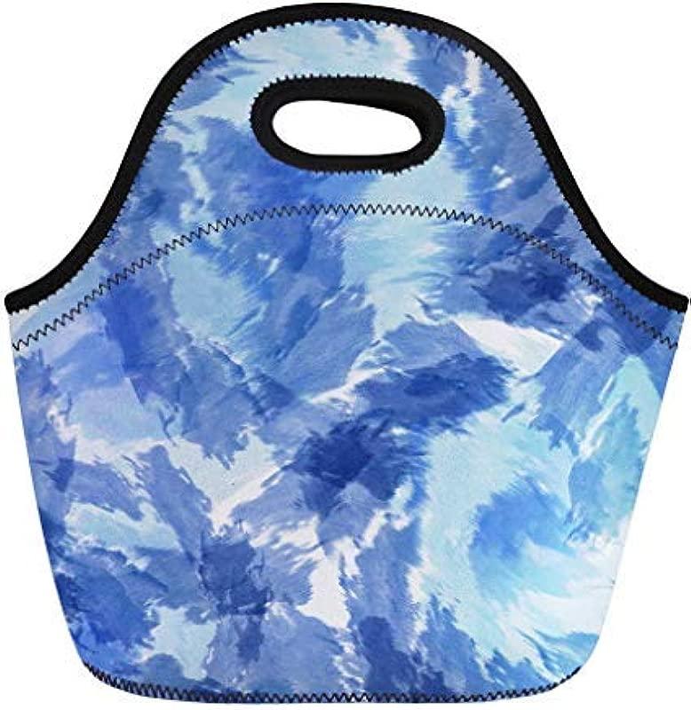 Vontuxe Insulated Lunch Tote Bag Blue Tie Dye Indigo Watercolor Effect Shibori And Navy Outdoor Picnic Food Handbag Lunch Box For Men Women Children