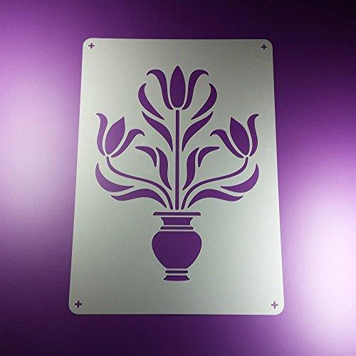 Schablone Tulpe Vase Symetrisch Blume - BE89