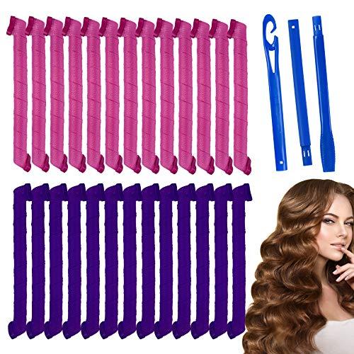 Rekey 26Pcs Magic Spiral Lockenwickler Set Haarstyling Werkzeuge Keine Hitze Flexible DIY Lockenwickler mit Styling Haken für Frauen Mädchen(Pink und lila,55cm).