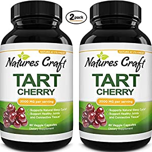 Tart Cherry Capsules for Joint Support – Tart Cherry Extract Antioxidant Supplement for Uric Acid Cleanse Sleep Aid and Muscle Recovery – Anti Aging Joint Health Supplement for Uric Acid Support