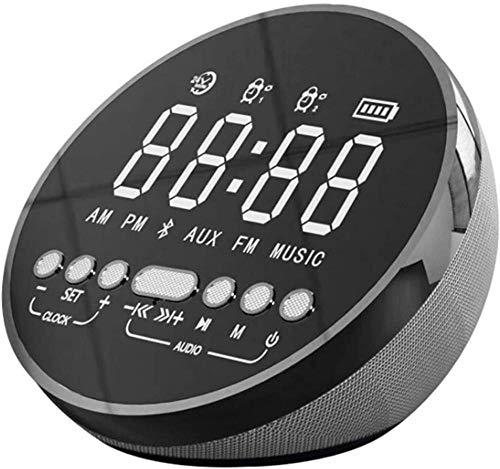 Radio despertador, radio reloj con altavoz Bluetooth y cargador inalámbrico, alarma dual reloj de noche con cargador USB, repetición, pantalla LED regulable