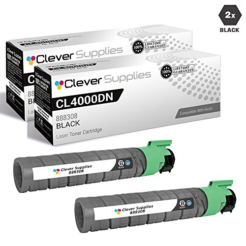 CS Compatible Toner Cartridge Replacement for Ricoh CL4000DN 888308 Black Color Laser Aficio CL4000DN Aficio SP C410DN Aficio SP C411DN Aficio SP C420DN LP226cn 2 Black Set