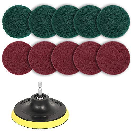 Popcornon 11Pcs Set de Borchas de Depurador de Poder Almohadilla de Pulido para Taladro EléCtrico Cepillo de Azulejo Scrubber Almohadillas de Fregado Herramienta de Limpieza