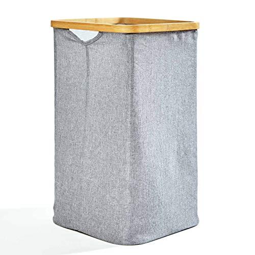 bambuswald© Faltbarer Wäschekorb mit Ring aus ökologischen Bambus ca. 50x32cm & 50 Liter Inhalt| Wäschesortierer Wäschebehälter Wäschetruhe Wäschesack Wäschebox Badezimmer Truhe Aufbewahrungskorb
