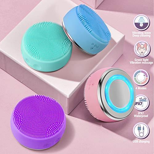 electrico recargable Cepillo limpiador facial IPx7 impermeable 4 modo de trabajo calefacción importación y exportación Removedor de maquillaje skin care masajeador facial cepillo de limpieza (rosado)