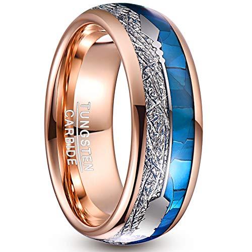 NUNCAD Wolfram Ringe für Herren/Damen Rosegold Breite 8mm Mit Blau Muschel+Meteorit+Arrow Inlay als Geburtstag, Valentinstag, Jahrestag Größe 59(18.8)