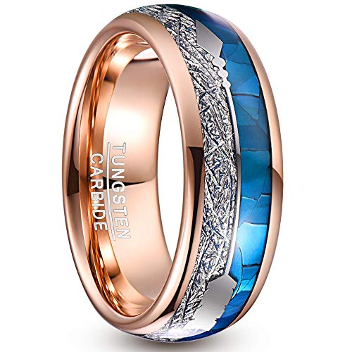 NUNCAD Mode Ringe für Herren/Damen Wolframcarbid Ringe Rosegold Mit Blau Muschel+Meteorite+Arrow Dome Inlay als Geburtstag, Valentinstag, Jahrestag