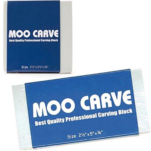 "Moo Art 2 Pack Carving Block 2 X 2 X 3/4"" & 2 x 5 x 3/4"" Thick Soft Printing/Stamp Gray Carving Print Studio Pack of Unmounted Artist Printmaking Art Tool Set"