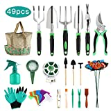 Opqpq 49Pcs Garden Tools Set, Gardening Tools with Extra 9 Pcs Succulent Tools Set, 40Pcs Heavy Duty Gardening Tools Aluminum with Soft Rubberized Non-Slip Handle Tools for Men Women,with Durable St