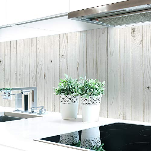 Küchenrückwand Holzwand Weiß Premium Hart-PVC 0,4 mm selbstklebend - Direkt auf die Fliesen, Größe:Materialprobe A4
