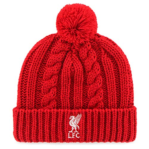 Liverpool Football Club Official Red Cable Knitted Bobble Hat Badge Crest