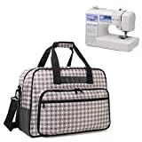 Yarwo Sewing Machine Tote Bag, Universal Portable Carrying Case with Anti-Slip Padded Bottom Compatible with Most Standard Sewing Machine and Supplies, Gray Dots