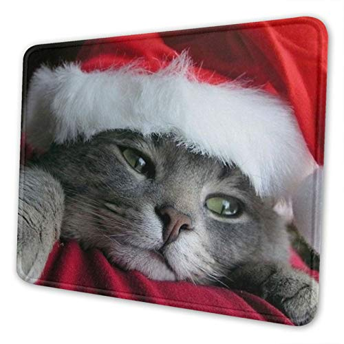 Christmas Cute Cat Thick Mouse Pad for Computer Laptop 7 X 8.6 in Non-Slip Mouse Mat for Home Office School Gaming Desk Accessories
