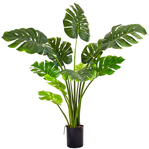 Sandy Cay Life Premium Quality Artificial Monstera Deliciosa Plant 47' Fake Swiss Cheese Plant Faux Potted Palm Tree Real Touch for Home Office Living Room