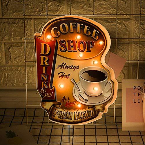 FSVEYL Leuchtschilder Coffee Wanddekorationen,Vintage Vintage Handgefertigtes Festzelt Geprägtes Zinndekor, Wandbehangschild im Industriestil,Für Coffee Shop Bar Oder Zimmer Wanddekoration (Shop)