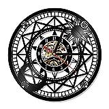 HHKLSF Astronomía Vinilo Led Registro Reloj De Pared Decoración De Pared Hueco Binoculares Antiguos Telescopio Vintage Regalo Colgante Reloj De Arte Led con 7 Colores