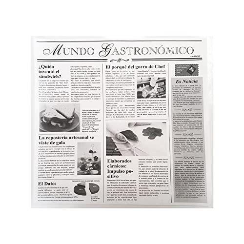 Gráficas Salaet – 500 Papel antigrasa pergamino parafinado – Impresión tipo periódico antiguo – 29 x 30 cm – Papel encerado – Uso alimentario
