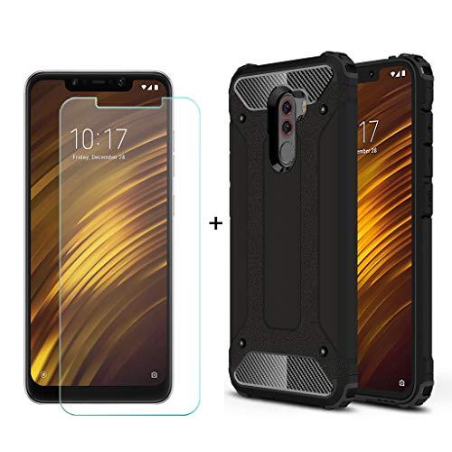 """QFSM hülle Für Xiaomi Pocophone F1 (6.18"""") [ Super Armor ] Weich TPU Hard PC Doppelter Schutz + 1 Pack Gehärtetes Glas Panzerglas Folie -Black"""