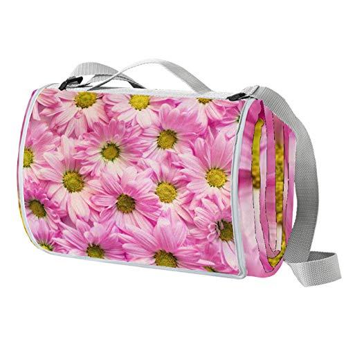 Anmarco Romantische Picknickdecke mit rosa Gänseblümchen, wasserdicht, faltbar, für Strand, Camping, Wandern