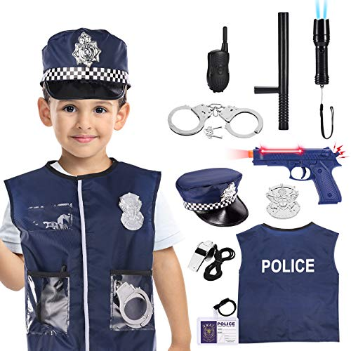 Tesoky 11 PCS Police Costume for Kids Dress Up Role Play Kit with Hat, Vest, Handcuffs, Bag, and Other Accessories for 3-7 Year Old Boys/Girls for Pretend Play, Halloween Dress Up, School Play