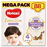 Huggies Extra Care Pañal Talla 4 (9-14 kg), paquete de 88 pañales