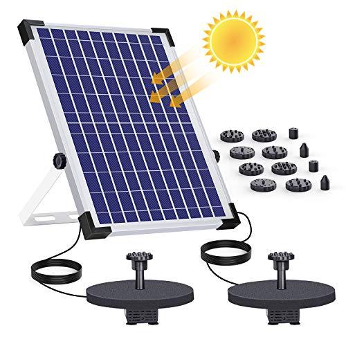 AISITIN 12W Solar Springbrunnen mit 2 Pumpen Eingebaute 2 * 2000mAh Batterie Solar Teichpumpe Wasserpumpe Solar Schwimmender Fontäne Pumpe mit 6 Fontänenstile für Vogelbad/kleinen Teich/Garten