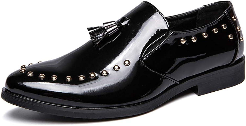 CHENDX Schuhe, Herrenmode Oxford Schuhe Casual Casual Faux Lackleder handgefertigte Quaste Loafer Slip On Dress Schuhe (Farbe   Schwarz, Größe   46 EU)  beste Qualität zum besten Preis