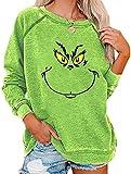 Bprtcra Christmas Sweat à Capuche Womens Christmas Sweater, Lonsc Sweat-Shirt à Manches Longues pour Femme, Grinches Printed Funny Ugly Christmas Sweatshirt, Sweat de Noël (M)