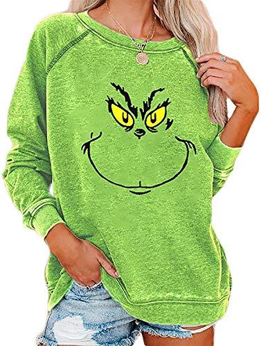 Bprtcra Weihnachten Grinches Sweatshirt, Kreativer Weihnachts Pullover Langarm Frauen Sweatshirt Weihnachten Langarm Frauen Sweatshirt Hoodie Neuheit Hoodie Damen(XL)