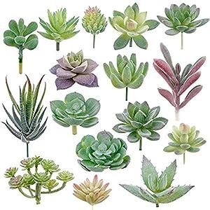 WanXingY 16pcs Artificial Succulent Mini Fake Flocking Plants for Garden Arrangement Home Desk Lotus Landscape Decorative