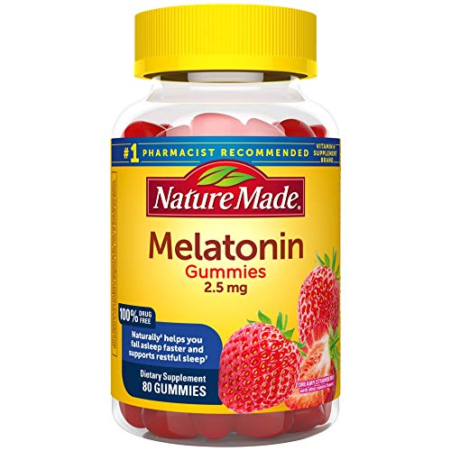 Nature Made Melatonin Gummies 2.5 mg, 80 Count for Supporting Restful Sleep