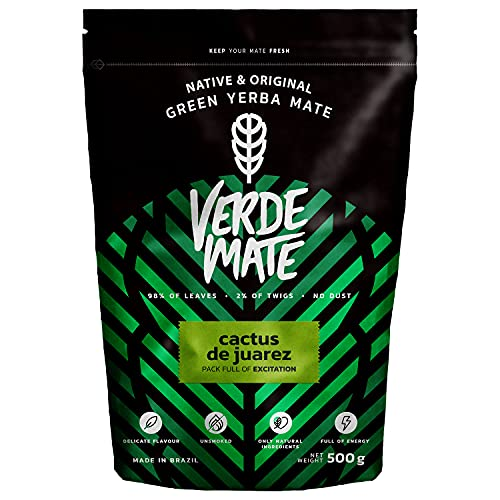 Verde Mate Green Cactus de Juarez 500g | Yerba Mate con Fruta de Chumbera | Yerba Mate Té de Brasil | Yerba Mate Té Con Frutas | Sin Gluten | Secada Sin Humo