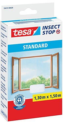 Tesa Fliegengitter für Standard-Fenster, weiß, leicht, 1,5m x 1,8m 1,3m:1,5m / 4er Pack Weiß