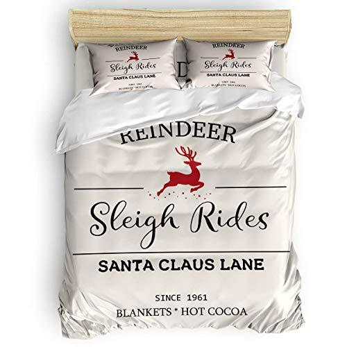 HARXISE 3 Piece Microfiber Ployester Fabric Duvet Cover Set Christmas Elk Reindeer Sleigh Rides Santa Claus Lane Bedding Sets