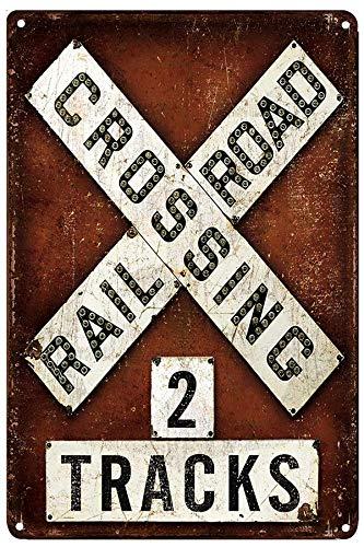 LIPTOR Railroad Crossing 2 Tracks Retro Vintage Metal Tin Signs Bar Restaurant Kitchen Country Home Decor Decorative Signs 8X12Inch
