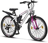 Licorne Bike Guide Bicicleta de montaña de 24 Pulgadas, Cambio Shimano de 21 velocidades, suspensión de Horquilla, Bicicleta Infantil, para Hombre y Mujer, Bolsa para Cuadro, Blanco/Rosa