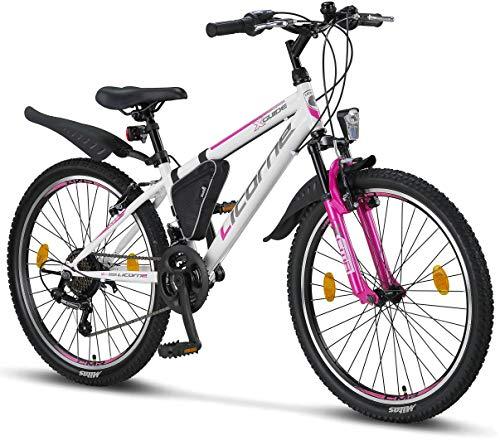 Licorne - Mountain bike per bambini, uomini e donne, con cambio a 21 marce, Bambina, bianco/rosa, 24