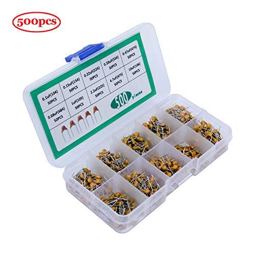 Jolicobo 500 Stücke 10 Werte Keramikkondensator Kit Set - 0,1 uF (104) bis 10 uF (106) 10 Werte DIP Monolithic Multilayer Ceramic Chip Capacitors-Sortiment-Set DIY Electronic Component