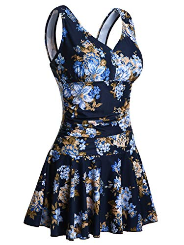 MiYang Women's Plus-Size Flower Printing Shaping Body One Piece Swim Dresses Swimsuit Navy Flower Large (US 12-14)