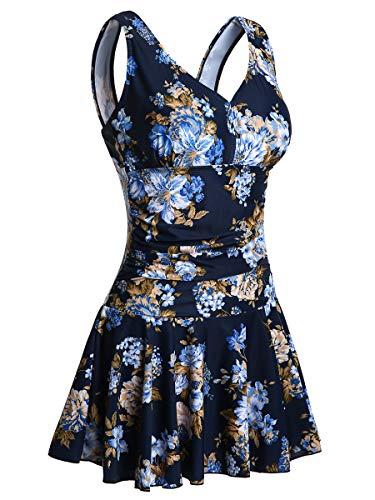 Summer Mae Damen Badekleid Plus Size Geblümt Figurformender Einteiler Badeanzug Swimsuit Marine Blume (EU Size 42-44)
