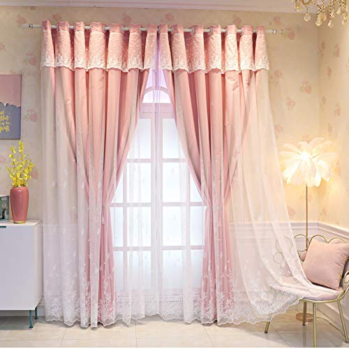 Double Layer Blackout Curtains,White lace embroidery Double Layer Blackout Voile Curtains,Living Room Eyelet Drapes,Girl Bedroom Curtain,Energy Saving Thermal Insulation Curtain,1pcs (Pink,blue,beig