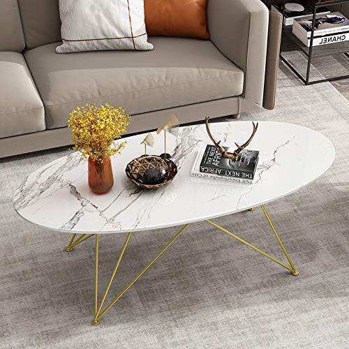 LTTA Nordic Pequeño Habitable Sala Oval Mesa De Café, Mármol Mesa Lateral Mesa De Inicio, Conveniente para El Hogar/Negocios (Tamaño: 100 X 60 X 45 Cm) No Incluye Decoración Innovación,Blanco